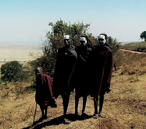 Young Masai Warriors on the edge of the Ngorongoro Crater
